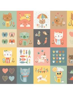 Tissu coton Cool Cat 2019 Panneau Multicolore à motifs de Chats Multicolore Blocks