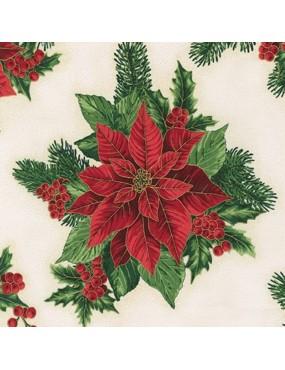 Tissu coton Noël avec dorures Holiday Flourish à motifs de Fleurs Rouges sur Fonds Blanc