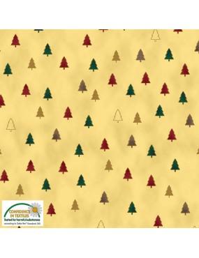 Tissu coton Noël Christmas Wonder avec dorures à motifs de petits Sapins Multicolors