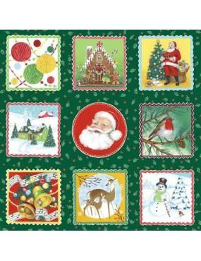 Tissu coton Panneau de Noël Vert Retro Christmas Labels Santa Père Noël à motifs de Noël