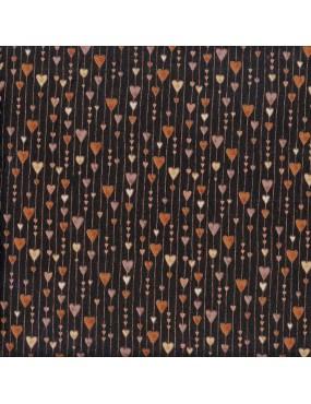 Tissu coton Noir Noël avec dorures à motifs de Guirlandes de cœurs Cuivrés et Marrons