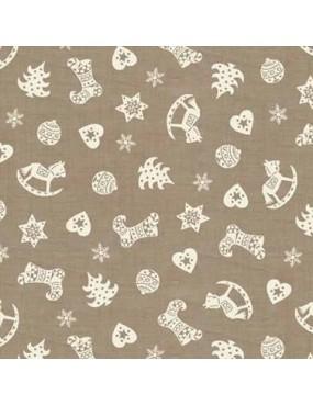 Tissu coton Noël Scandi Christmas Scatter Hearts Gris à motifs Blancs