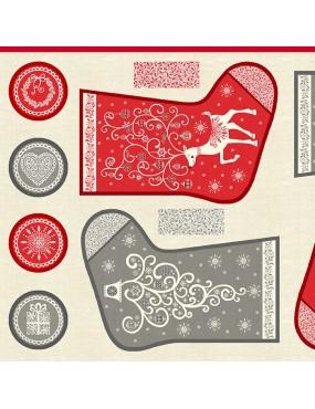 Tissu coton Panneau de Noël Festive Advent Chaussettes de Noël Grises et Rouges