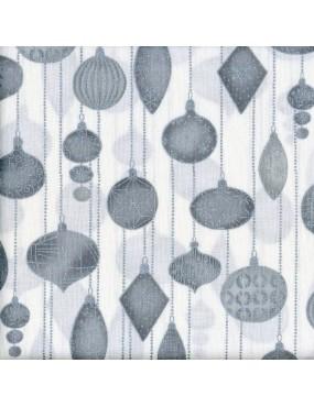 Tissu coton Blanc Noël avec dorure à motifs de Boules de Noël Argents et Grises