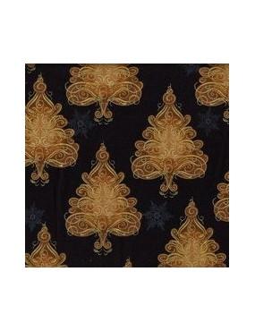 Tissu coton Noël Noir avec dorure à motifs d'Arbres Stylisés Marrons