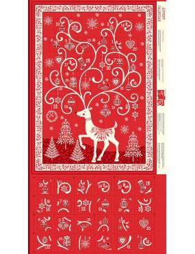 Panneau de Noël Calendrier de l'Avent Rouge Noël Festive Advent à motifs de Rennes