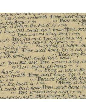 Tissu coton Home Beige Avoine à motifs d'Ecriture Noir