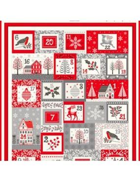 Panneau Christmas Panels 2020 Calendrier Rouge, Gris et Ecru