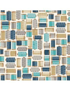 Tissu coton Stitch In Time Bleu Blanc et Beige à motifs de Bobines de Fils