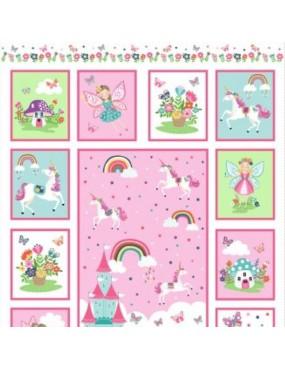 Panneau Enfant coton Day Dreams à Motifs Féeriques et de Licornes