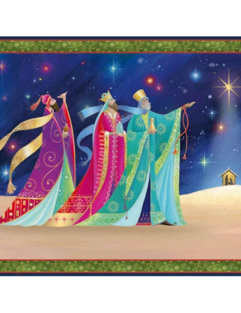 Panneau Noël Christ is born Rois mages