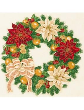 Panneau de Noël avec dorures Holiday Flourish à motifs de couronne de Fleurs