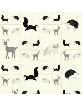 Panneau Bramble à motifs coton à motifs d' animaux de la Forêt Noir et Blanc