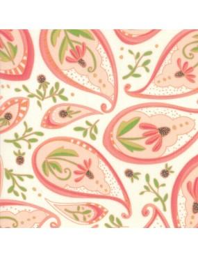 Tissu coton Painted Meadow Blanc à motifs de Fleurs Roses et Vertes