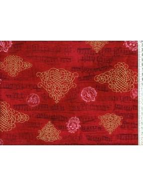 Tissu coton Rouge avec...