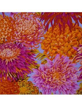 Tissu coton Kaffe Fassett à motifs de Tissu coton imprimé Kaffe Fassett Chrysanthèmes sur fond bleu