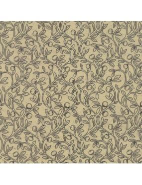 Tissu coton Home Beige à motifs de Branches d'Olivier Noir