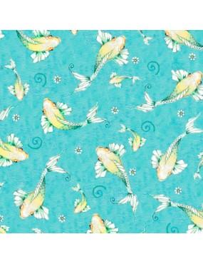 Fat Quarter Fancy Flamingos à motifs de poissons sur fond Bleu