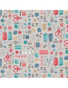 Fat quarter Stitch In Time Blanc Bleu Rose et Gris à motifs d'Accessoires de Couture