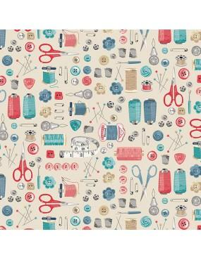Fat Quarter Stitch In Time Blanc Bleu Rose et Gris à motifs d'Accessoires de Coutures