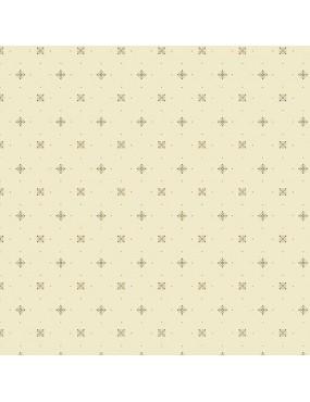Tissu coton Something Blue Beige Ivoire à motifs de Carré et de Pois