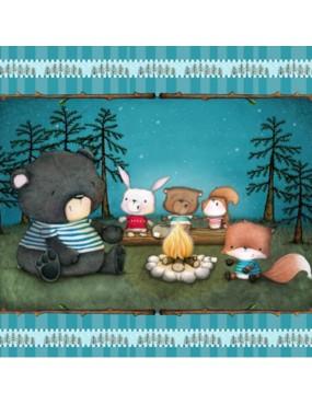 Panneau Enfant Campfire Friends à motifs d'Animaux sur un Campement