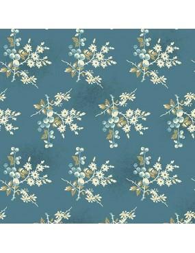 Tissu coton Something Blue Bleu océan à motifs de Bouquets de Baies