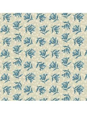 Tissu coton Something Blue Blanc à motifs de Pivoine Bleu