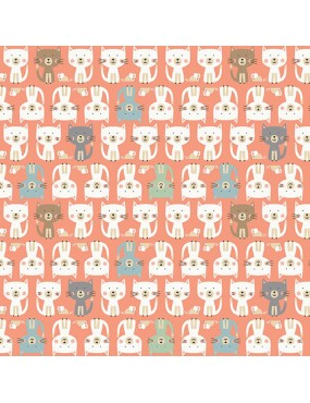 Fat Quarter Cool Cat 2019 Rose à motifs de parade de Chats Multicolore