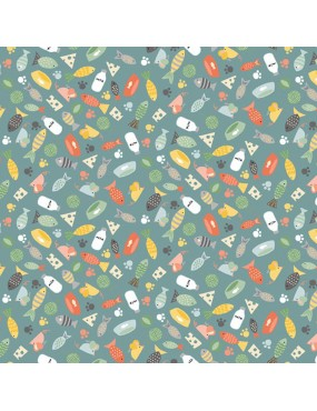 Fat Quarter Cool Cat 2019 Vert à motifs de Poissons et d'empreintes de Chats Multicolore