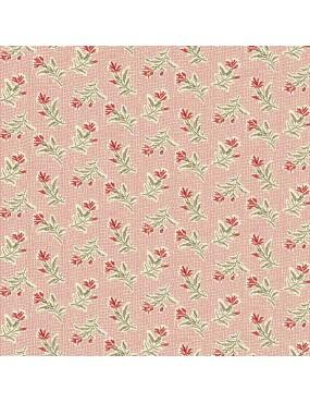 Fat Quarter Little Sweetheart Rose à motifs de Fleurs des Champs Rouge sur Fond Quadrillé