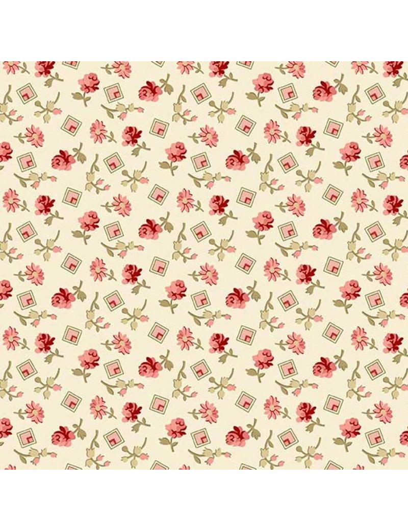 Fat Quarter Little Sweetheart Blanc Cassé à motifs de Fleurs et de Carrés Roses et Rouges
