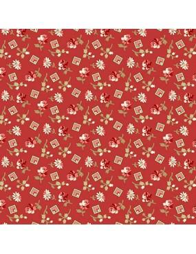 Fat Quarter Little Sweetheart Rouge à motifs de Fleurs et de Carrés Roses et Blancs