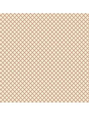 Tissu coton Little Sweetheart Beige Sable à motifs de quadrillage Rouge