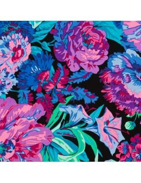 Tissu coton Kaffe Fassett à motifs de Grosses Fleurs Multicolores sur fond Noir