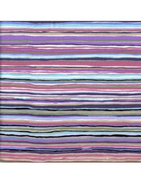 Tissu coton Kaffe Fassett à motifs de Rayures Multicolores Violettes