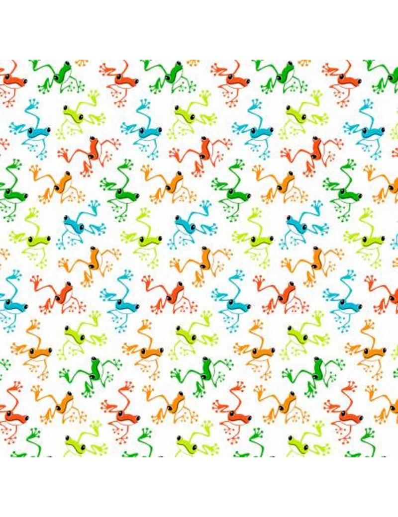 Tissu coton The Toadally Cool à motifs de Grenouilles Phosphorescentes
