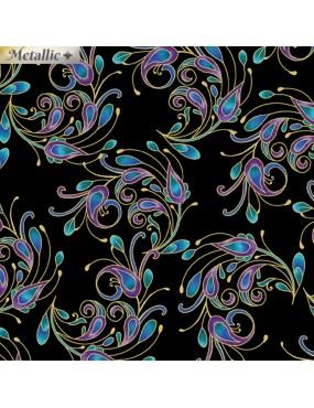 Tissu coton dorure Peacock Flourish à motifs de Plumes de Paon