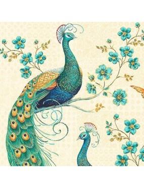 Panneau Peacock Pavilion à motifs de Paons sur fond Beige