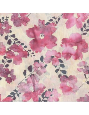 Fat Quarter Batik imprimé Blanc Fleurs Roses