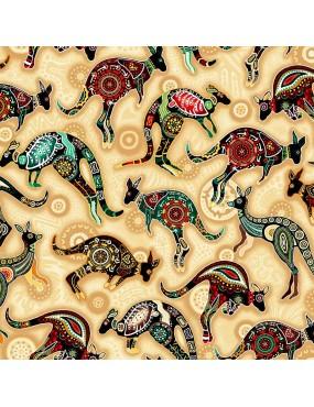 Tissu coton Gondwana à motifs de Kangourou