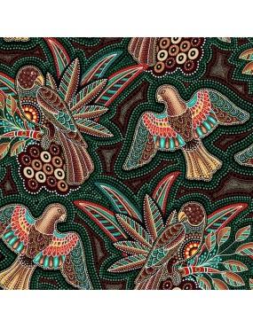 Tissu coton Gondwana à motifs d'Oiseaux