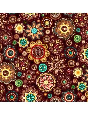Fat Quarter Gondwana à motifs de Médaillons Floraux
