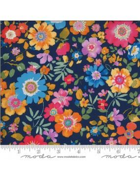 Tissu coton Chez Moi à motifs de Fleurs colorées sur fond Bleu Navy