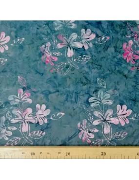 Fat Quarter Batik imprimé à motifs de fleurs et de feuilles