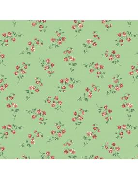 Tissu coton Seamstress à motifs fleurs roses