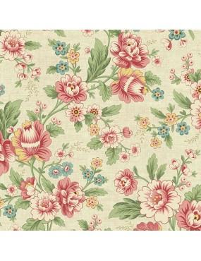 Tissu coton Seamstress à motifs de fleurs de dahlia