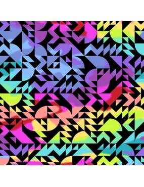 Tissu coton Beguiled de Libs Elliott Noir ou Blanc imprimé géométrique multicolores