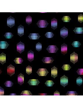 Tissu coton Beguiled de Libs Elliott Noir ou Blanc imprimé de formes hexagonales multicolores
