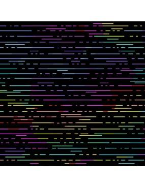 Tissu coton Beguiled de Libs Elliott Noir ou Blanc imprimé de lignes multicolores